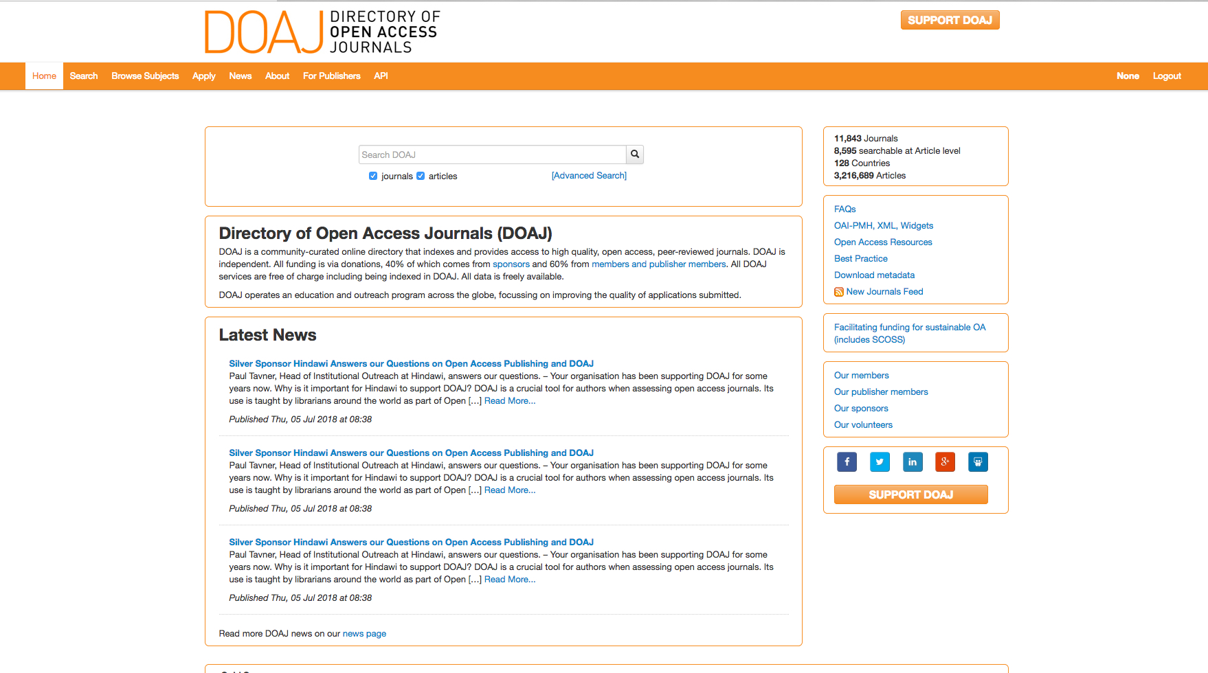 Le Directory of Open Access Journals (DOAJ.org).